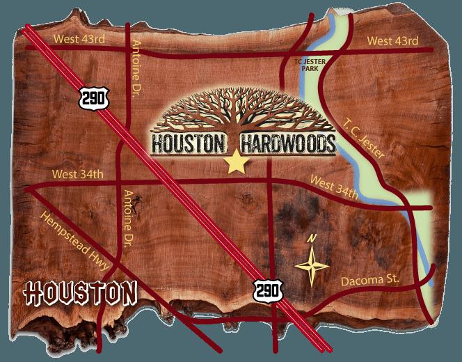 Map to Houston Hardwoods