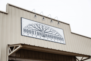 Storefront sign for Houston Hardwoods
